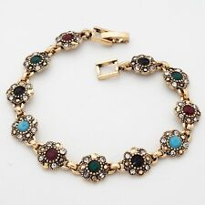 Fashion Jewelry Multi-Color Round Gems Cubic Zircon Gold Plated 19 cm Bracelet