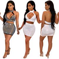 Women Drilling Two Piece Set Dress Deep V Backless Halter Crop Top Mini Skirt