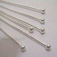 "20x STERLING SILVER 2mm BALL DOT HEADPINS 0.7mm 21GA 1.5"" 40mm #401"