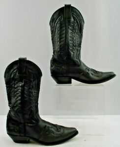 Ladies Black Leather Snip Toe Western Cowgirl Boots Size: 9 B