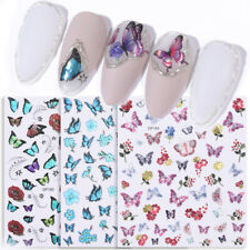 3D Holographicss Butterfly Transfer Colorful Nail Art Stickers Decals Decoration