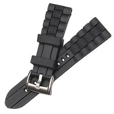 23mm Black Rubber Watch Strap Band Compatible for AR5856 AR5864 AR5866 AR5878
