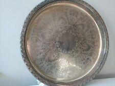 "Vintage Silverplate Elegant Filigree 15"" inch Platter Serving Tray"