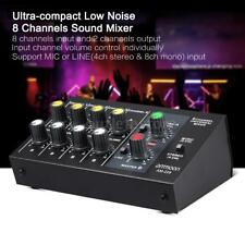 High Quality 8 Channels Metal Mono Stereo Audio Sound Mixer Hot US Deliver Z6W7