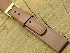 NOS Vintage Brown Leather Bulova Watch Band w Gold Tone Buckle 16mm Unused Mens