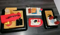 VINTAGE FISHER PRICE OFF SHORE CARGO CRANE, TUG BOAT, ETC AND FIGURES