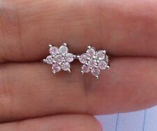 Small Rhinestone Crystal Diamante Earrings Women's 925 Sterling Silver Jewellery