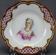 Hutschenreuther Sevres Type Hand Painted Mdm Du Barry Portrait Reticulated Plate