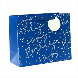 Happy Birthday GIFT BAG LARGE Paper Blue Silver Foiled Gift Tag Boys Men Male