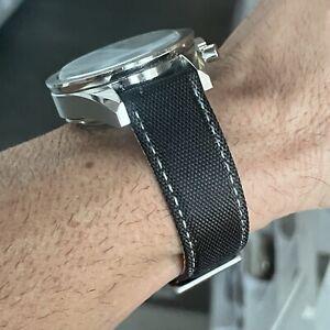20mm BLACK Sailcloth Canvas/Leather watch band strap WHITE Stitch QR Bars