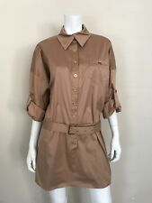 MARCIANO Women's Brown Button Front Shirt Dress with Long Sleeves Size Large