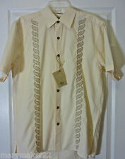 NWT $79 Pusser's West Indies Camp Shirt LARGE Cream Embroidered Cotton Blend