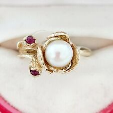 Vintage Solid 14K Yellow Gold 5.5mm PEARL and RUBY FLOWER Ring Size 5
