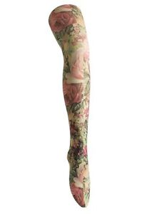 Ladies/Womens Roses and Flowers printed tights