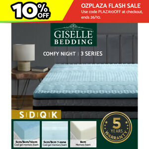 Giselle Memory Foam Topper Mattress Toppers Cool Gel Bamboo Cover 7-zone Pad Mat