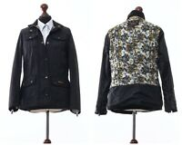 Women's BARBOUR Kate Jacket Liberty Print Wax Waxed Coat Black Size UK 12 US 8