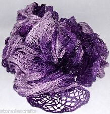 "Ruffle Boa Tri Purple Shades Knitted Style Silver Glitter 45"" For Red Hat Ladies"