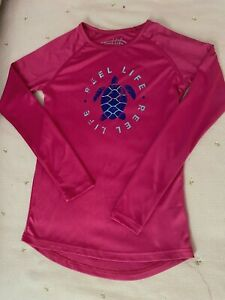 Woman's Girls Reel Life Shirt Size S/c Long Sleeve Turtle Top UPF 50+ Protection