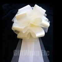 "Ivory Tulle Wedding Pew Pull Bows - 9"" Wide, Set of 6"