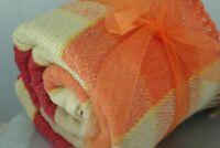 Wool Blend Fringed Throw Washable Yellow Orange Red Plaid All Season
