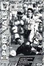 1991/92 PORT VALE/Blackburn Rovers, zenith data Cup-parfait état