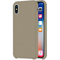 Liquid Silicone Case For Apple IPHONE XR 6.1 10R Protective TPU Stone Grey Beige