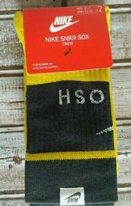 Nike SNKR Sox 2 Pair Crew Socks Men's 8-12 Black and Yellow NWT