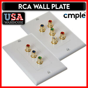 White RCA Wall Plate Audio Video 3 or 5 RCA WallPlate Stereo Cable Coupler HDTV