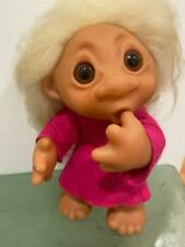 "Troll Vtg Thomas Dam Norfin Doll Thumb Sucker 604 9"" Long Hair Open Mouth Sing"