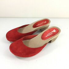 Anthropologie Antelope Red Mules Clogs 38 7 7.5 Boho Mod Excellent Slides
