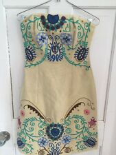Anthropologie Tracy Reese Tan Embroidered Folk Art Strapless Dress 2