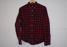 1B8 AMERICAN EAGLE Classic Fit Plaid Button Down Shirt RED BLACK XS X-Small