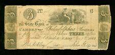 1862 US $3 Three Dollar Note from The State Bank at Camden near Philadelphia   m