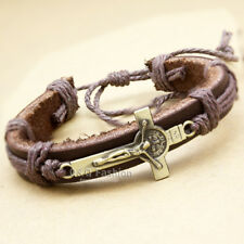 Men Catholic Religious Cross Crucifix Bible Medal Leather Bracelet Bangle Cuff W