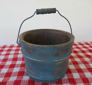 Vintage Bucket, Wood, RICHMOND CEDAR WORKS Primitive Small, Bail Handle, Blue Pt