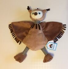 Jellycat Flapper Owl Security Blanket Soother Stripe Brown New Comforter Lovey