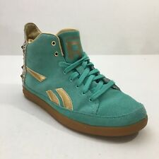 New Reebok  Snobette  Teal Gold High Top Sneaker Studded Size 8.5M Leopard 642722def
