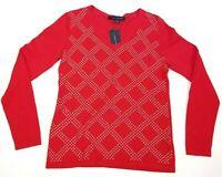 Tommy Hilfiger Womens Studded Argyle V Neck Sweater Size S Red Gold