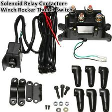 Black Winch Rocker Thumb Switch Combo &12V Solenoid Relay Contactor for ATV UTV