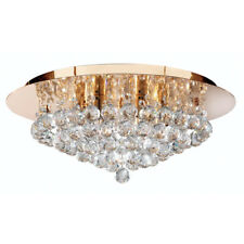Searchlight Hanna 6 Lights Gold Crystal Ball Flush Ceiling Fitting Chandelier