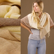 Soft Brown Cream Stripe Large Scarf Sarong or Wrap Light 80% Cotton 170x63cm