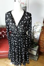 & Other Stories black floaty midi dress butterfly print 36 10 pockets