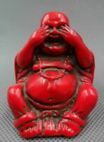 Collectible Decorated Old Handwork Coral Carve Buddha No See Good Luck Statue