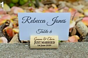 Personalized wine cork place card holder - Wedding card holder - white - custom