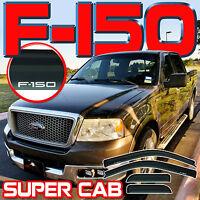 2004-2008 F150 Super Cab Window Deflectors Sun Rain Visors Vent Shades with Logo