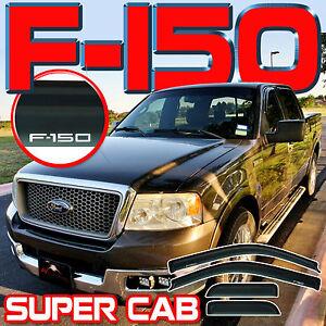 For 2004-2008 F150 Super Cab Window Deflectors Rain Visors Vent Guards with Logo