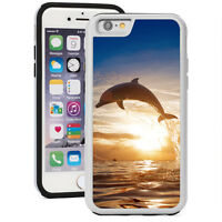For iPhone X XS Max XR 7 8 Plus Shockproof Hard Soft Case 238 Dolphin Sunset