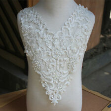 1Pc Sew-on Ivory Pearls Beaded Bridal Lace Collar Applique for Bridal Wedding
