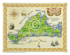 "19.5 x 25"" Martha's Vineyard Vintage Look Map Printed on French Parchment Paper"