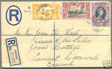 1953 BRITISH SIERRA LEONE UPRATED REGISTERED STATIONERY PUJEHUN TO ENGLAND